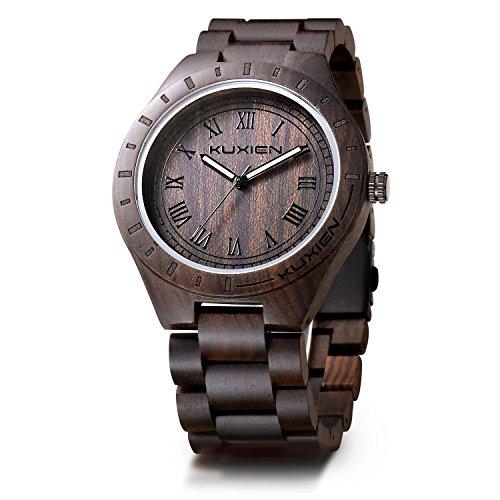 KUXIEN Holzuhr ,Holz Armbanduhr,Naturholz Herren Damen Quarz Armbanduhren, Klassisch Sandelholz Quarz Analog Uhren