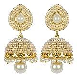 Shining Diva White Pearl Jhumki Earring ...