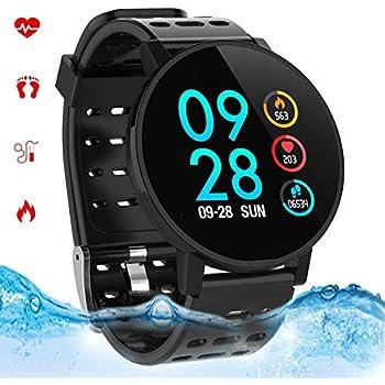 Smartwatch con Pulsómetro,Reloj Inteligente Impermeable IP67 Hombres Mujeres Pulsera Actividad con Cronómetro, Monitor de Sueño,Podómetro, para Android y ...