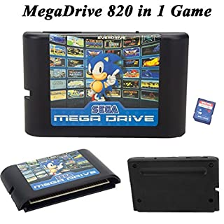 AFUT Games Cartridge,820 in 1 Game Cartridge 16 Bit Game Card For Sega Mega Drive Genesis Console