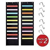 2-pack Kruideey Wall Storage Pocket chart, facile da parete tasca organizer chart, cartella sospesa, Best Pocket grafico per scuola, scuola, casa o ufficio. (2pezzi, Lt. nero)