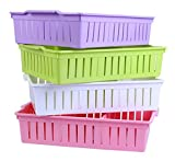 #5: VelKro Multi-Segment Hollow Bin Basket Storage Box Tray Organizer Container Kitchen Bathroom Office Assorted colors Set of 3