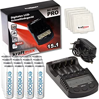 Kraftmax BC-4000 Pro Ladegerät mit 16x Pansonic Eneloop AA/Mignon Akku