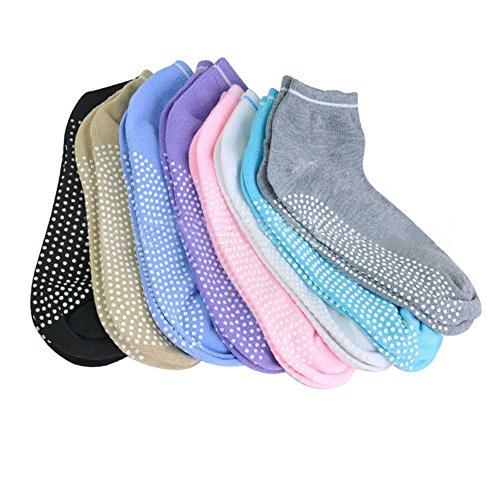 AllThingsAccessory® 3 x Pairs Non Slip Yoga Pilates Socks Martial Arts Fitness Dance Barre. Anti-slip/Non-slip,Full Toe Ankle Fall Prevention Grip Socks, Sox UK 4-9/EU 38-44