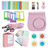 FollowSun 9 in 1 Instant Camera Accessories for Fujifilm Instax Mini 8 8S 8+ 9 Include Pink PU Camera Case/Adjustable Strap/Photo Album/Selfie Lens/Colored Filters/Border Stickers/Wall Hang Frames/Film Table Frames