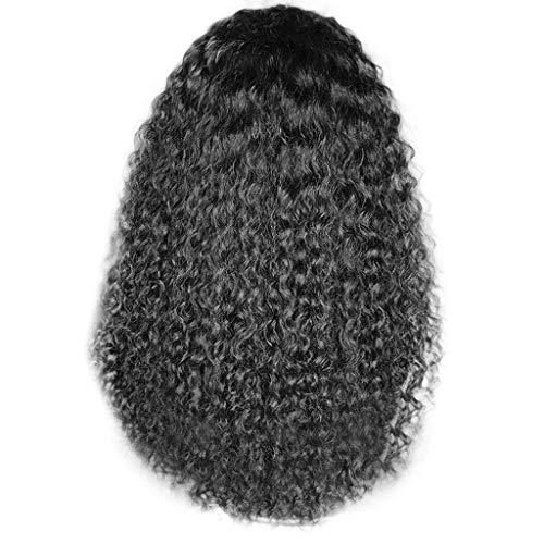 Frauen-schwarzes brasilianisches kurzes gewelltes gelocktes Trennungs-Hochtemperaturfaser-Perücke-Haar (Schwarz)