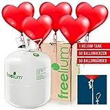 Ballon-Set Love & Marriage: Ballongas Helium Jumbo Tank + 50 rote Herz-Ballons + 50 Ballonbänder mit Quick-Verschluss - für Hochzeit, Liebe & Valentinstag.