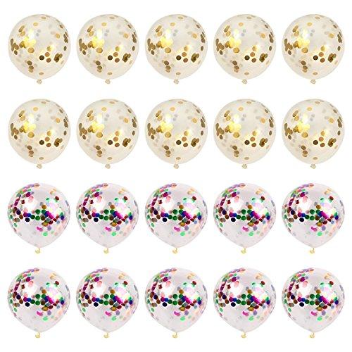 Yolito Transparentes Globos Confetti oro para Decoraciones de Fiesta, Fiesta de cumpleaños, boda(20 Piezas, 12 Pulgadas )