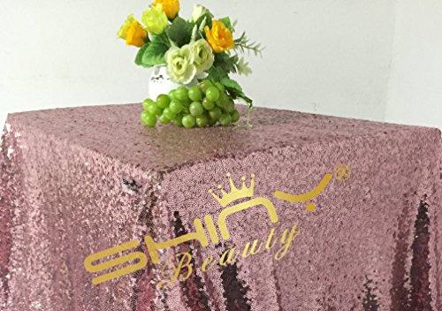 ShinyBeauty 225x275cm Pailletten runden Tischdecken Leinen Tischdecken-Rosa Golde Tabelle Tuch Glitter (Glitter Leinen Tischdecke)