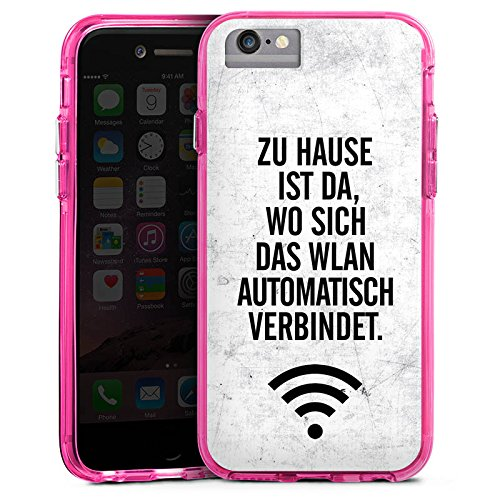 Apple iPhone 6 Plus Bumper Hülle Bumper Case Glitzer Hülle Wlan Home Zuhause Bumper Case transparent pink