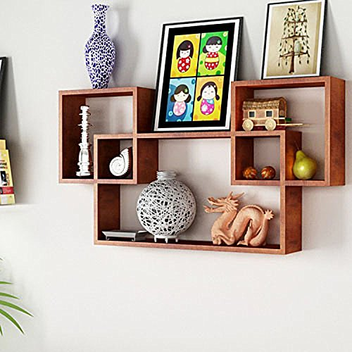 Artesia Trendy Brown Wooden Interlocked Wall Shelves