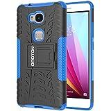 Funda Honor 5X OMOTON Carcasa Huawei Honor 5X [Doble Capa][Color de Azul][Doble Función][Garanía de por Vida]