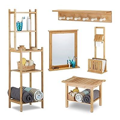 5 tlg Bambus Badset bestehend aus Standregal, Sitzbank, Wandhandtuchhalter, Toilettenpapierhalter mit Zeitungsständer & Spiegel