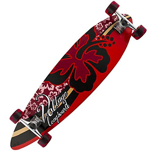Voltage longboard complete skateboard Hibiscus Flower Red 38 x 9.75 inch - Complete
