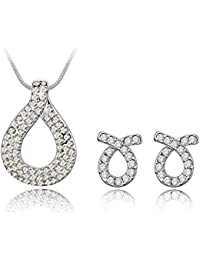 Carina White Rhodium Plated Pendant And Earring Set Made With Swarovski Elements Crystals For Women And Girls