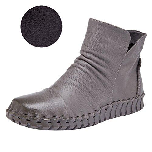 Vogstyle Damen Vintage Handgefertigte Lederstiefel Flach Stiefel Art 2 Fleece Grau