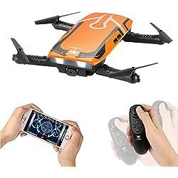 Drone con cámara HD, H818 RC Plegable Mini Drone Wifi FPV Drone 720P HD Juguete Quadcopter 6 ejes Gyro Altitud Hold RC Quadcopter RTF , Regalos de Pascua Para Niños, Adultos