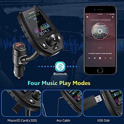 FM-Transmitter-bedee-Bluetooth-50-Auto-Transmitter-18-Zoll-TFT-KFZ-Radio-Adapter-mit-MikrofonDual-USB-Ladegert-Quick-Charge-Untersttzt-USB-TF-Carte-AUX-EQ-Mode-fr-Handy-Handsfrei-mp3-Player