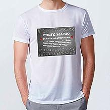 Lolapix - Camiseta Personalizada Hombre Tiza. Personalizada con el Nombre del Profesor y Alumnos,