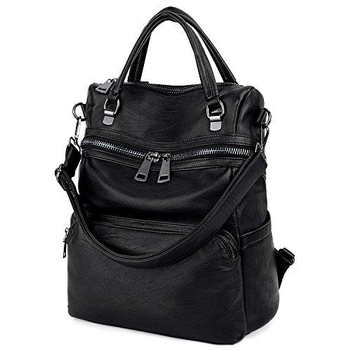UTO Damen Rücksack Purse PU gewaschen Leder Frau Rucksack Schultertasche mit Fashion Quast Geldbörse 1 (Pocket Tote Side)