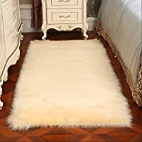 White Bedside Carpet Cute Room Imitation Wool Carpet Fashion Bay Window Long Hair Mat Simple Living Room Window Carpet AFQHJ (Color : Beige, Size : 70CM×160CM)
