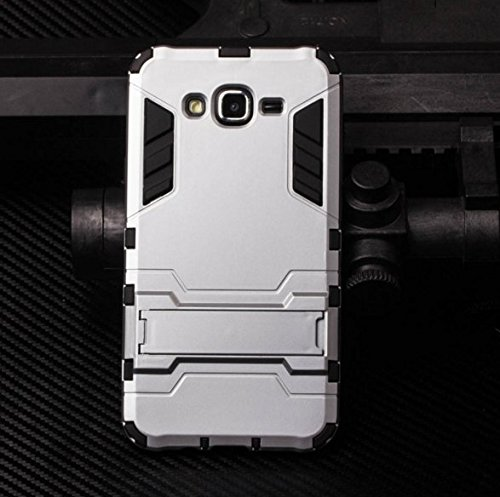 MOCA for Samsung Galaxy J2 / J200F (2015 Release) Back Cover Graphic Kickstand Hard Dual Rugged Armor Hybrid Bumper Case for galaxy J2 J200 Back cover case (Silver)