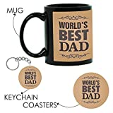 Birthday Gifts for Father, Worlds Best Dad Gift Hamper Set of 3 with Mug for Father, Coaster, Keychain by Giftsmate