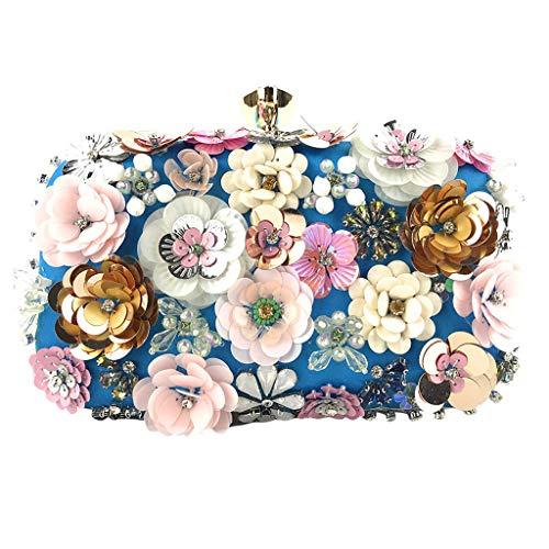 Deloito Damen Blumen Schmuck Kupplungen Handgemacht Kette Clutch Tasche Abendtasche Hochzeit Umhängetaschen Bankett Party Handtasche (Blau) -