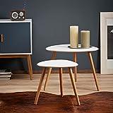 LOMOS® No.2 Beistelltisch (2er-Set) in weiß aus Holz im modernen Retro-Look - 2