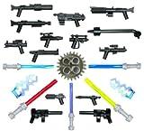 LEGO STAR WARS / Little Arms: Ultimatives 22-teiliges Waffenset 2011 - mit 14 Blastern, 5 Laserschwertern, 2 Machtblitzen und 1 seltenen Zahnrad im ALTEN HELLGRAU