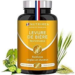 Levure de Bière Revivifiable - Cheveux, Ongles & Peau - 200 gélules végétales (1200mg/j) enrichies en Zinc & Sélénium - Fabriqué en France