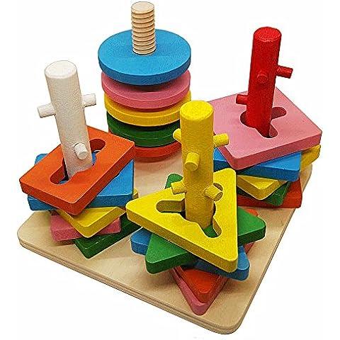 Giocattoli di legno Stack & Ordina puzzle Colore e Forma geometrica Riconoscimento consiglio per bambini scherza il bambino