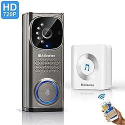Alfa wise Sonnette sans fil avec la vidéo HD, sonnette video, sonnette caméra avec wifi 2,4 GHz cadeaux de la fête des pères