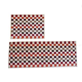 Haus- und Küchenteppich, moderner Teppich, rutschfeste Küchenmatte, Rückseite aus Gummi, Fußmatte, Läufer, Teppich-Set, Microfaser, Red Kitchen Mat17.7
