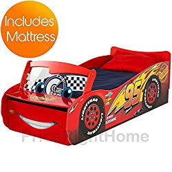 Disney Cars 'Lightning McQueen' Feature Toddler Bed with Storage and Fully Sprung Mattress