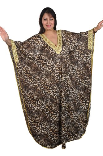 Eleganter Damen Kaftan Kleid im Butterfly Look Sommer Urlaub Hauskleid (60-66 (Einheitsgröße: 4XL bis 5XL)) (Butterfly-kaftan)