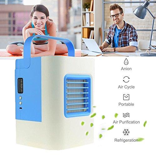 Mini Air Cooler Mobile Klimageräte Luftkühler mit Wasserkühlung Zimmer Klimaanlage Ventilator USB Klimagerät 4 in 1 Raumluftkühler Luftreiniger - Blau