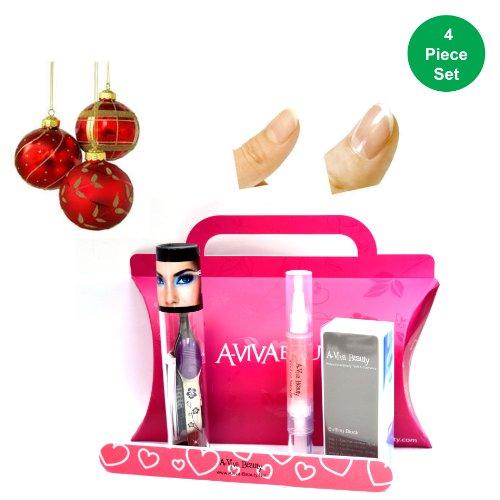Trend Tweeze Lighted Pince à épiler en violet Floral + Aviva à ongles kit (Ensemble d'éléments de 4)