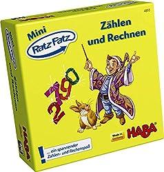 HABA 4893 - Mini Ratz Fatz - Zählen und Rechnen, fantasievolles Spiel für 1-4 Kinder von 5-9 Jahren zum Kennenlernen von Zahlen und Mengen, Reise- und Mitbringspiel im Mini-Format