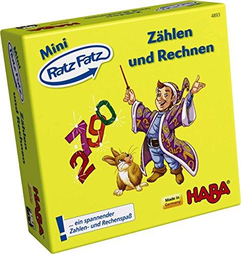 HABA-4893-Mini-Ratz-Fatz-Zhlen-und-Rechnen HABA 4893 – Mini Ratz Fatz – Zählen und Rechnen, fantasievolles Spiel für 1-4 Kinder von 5-9 Jahren zum Kennenlernen von Zahlen und Mengen, Reise- und Mitbringspiel im Mini-Format -