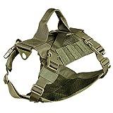 haoYK Hundegeschirr Weste Tactical Military MOLLE Geschirr für Service Hund Grid Tactical Vest Hunde Harness für Walking Wandern Jagd