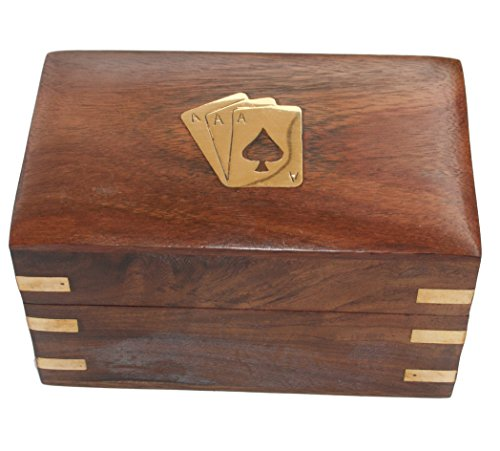 Twin pack wooden card box with Two Packs of Cards
