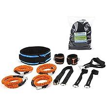 yahill® Premium Set Resistenza Trainer cintura multifunzione multiuso con 4x 25lb Jump verticale di alta elastica per allenamento resistenza, formazione e Athletic formazione partner (Nero (4x 25lb), Orange(4 x