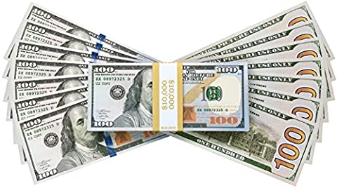PROP MONEY AMERICAN DOLLARS - $ 10,000 FULL PRINT NEW STYLE DOLLAR BILLS, in Authentic Bank Strap. Perfect for Movie Props, Film Props, Advertising, Fake Money, Pretend Money Notes, Social media, Fake Money, Play Money, Costume Party, Decorations, Fancy Dress, Magic Tricks, Casino Games (New