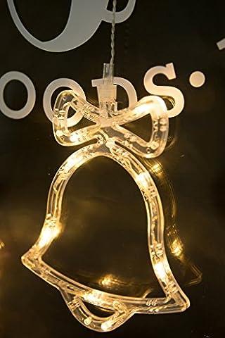 BLOOMWIN Warmweiß Glocke Fensterdeko, 8LED Fensterschild Dekobeleuchtung für Innen, Wand, Schaufenster, Decken, Tür, Weihnachtsbaum, Weihnachten, Valentinstag, Hochzeit,