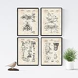 Nacnic Vintage - Pack de 4 láminas con Patentes de Juguetes Infantiles. Set de Posters con inventos y Patentes Antiguas. Elije el Color Que más te guste. Impreso en Papel de 250 Gramos