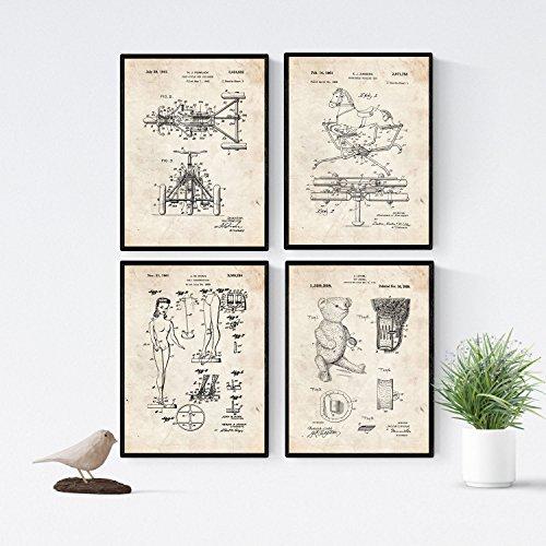 Nacnic Vintage - Pack de 4 láminas con Patentes de Juguetes...