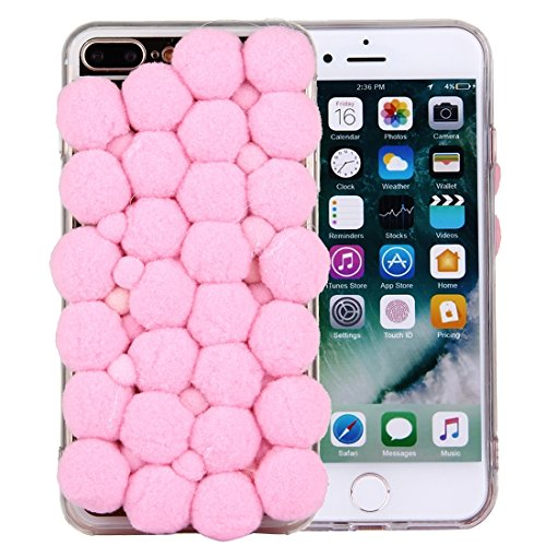 Für iPhone 7 Plus 3D Pelz Bälle Muster TPU Schutzhülle DEXING ( Color : Green ) Pink
