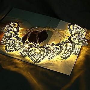 1.5M 10er LED Liebesherz Lichterketten Stimmungslicht, Dapei LED Weihnachtsdekoration batteriebetrieben Lichterkette Warmweiß Außen und Innen String Licht für Zimmer, Weihnachten, Party, Hochzeit