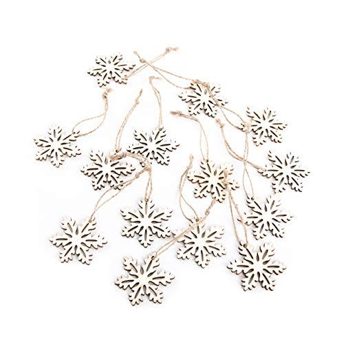 14 kleine Holzsterne zum Aufhängen Schneeflocken-Anhänger Weihnachtsanhänger Sterne-Anhänger aus Holz Christbaumschmuck Weihnachtsdeko Baumschmuck Geschenk-Anhänger Weihnachten